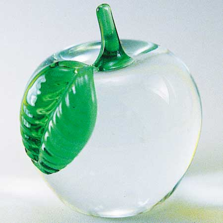 Glass Apple with Green Leaf